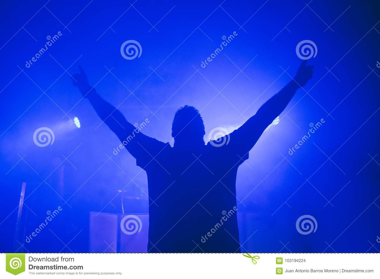 dj hands up at night club party stock photo image of sound people