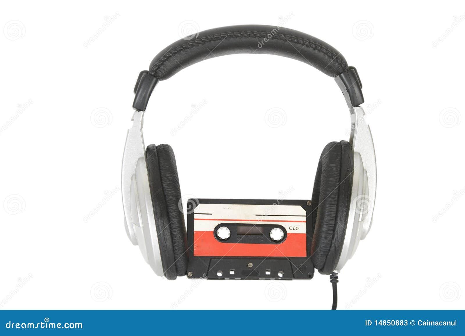Dj headphones and audio cassette