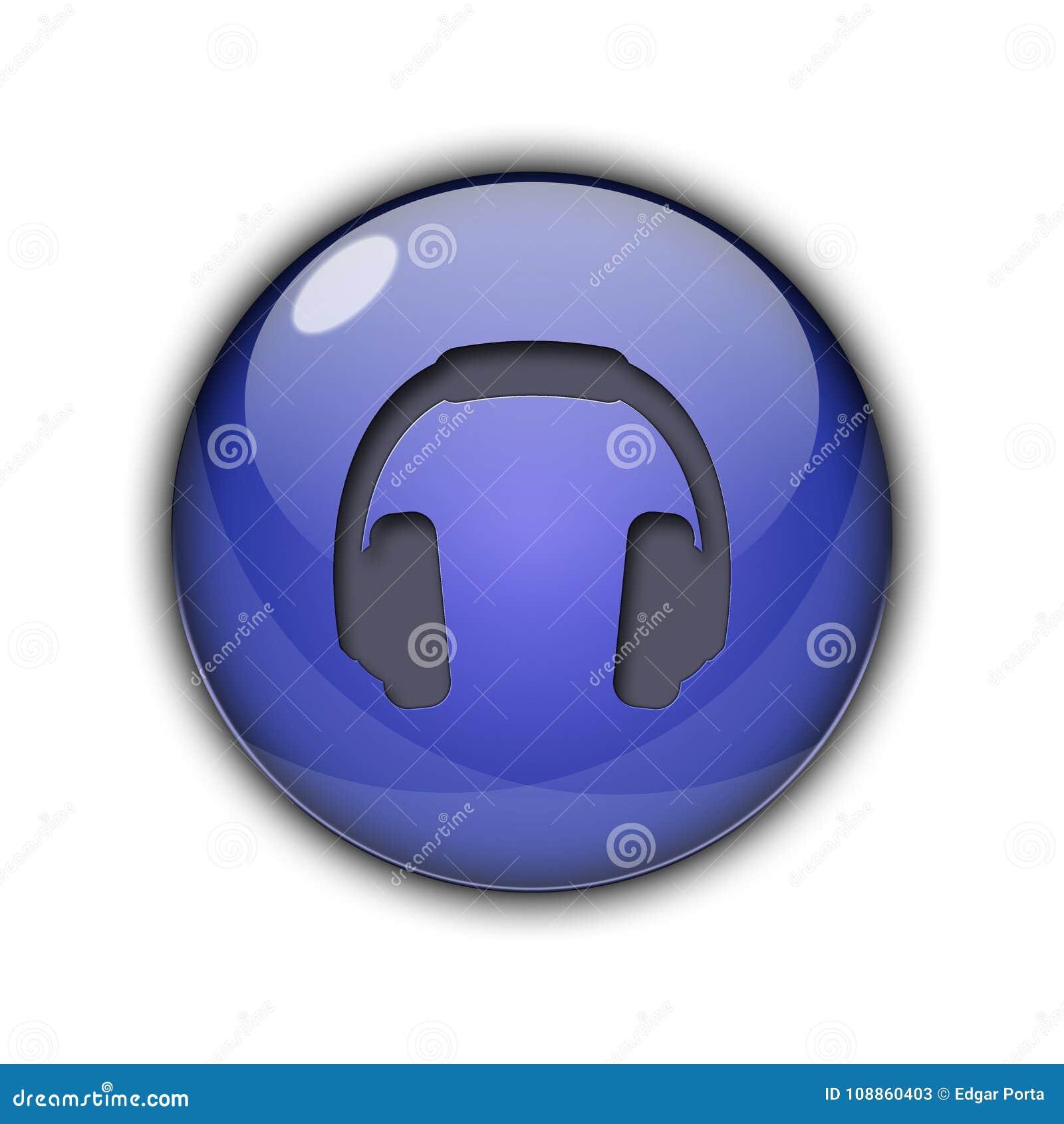 Dj Headphones Buttons Icons 3d Dark Blue Color Stock Illustration