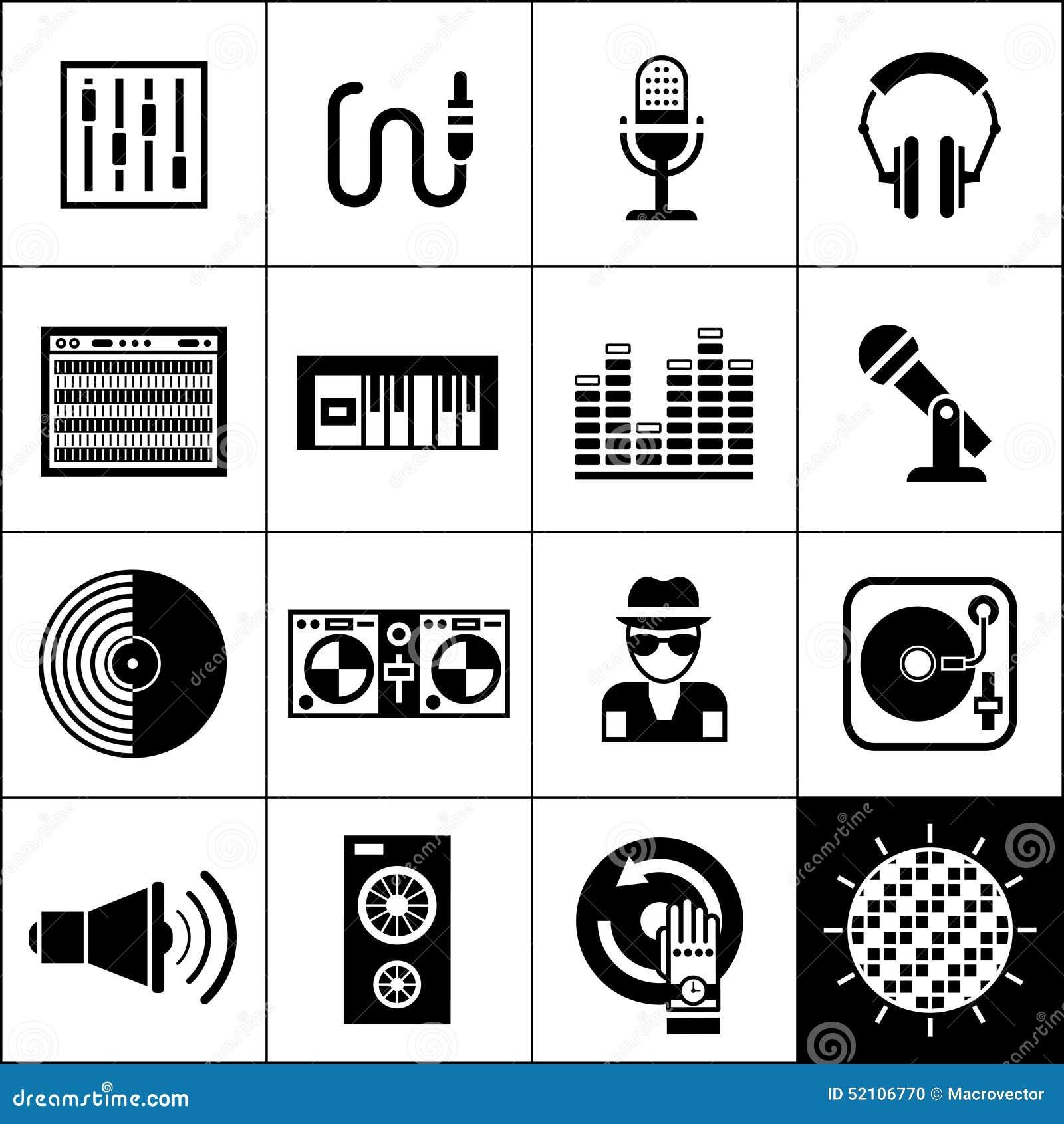 Dj Icons Black Stock Vector Image 52106770
