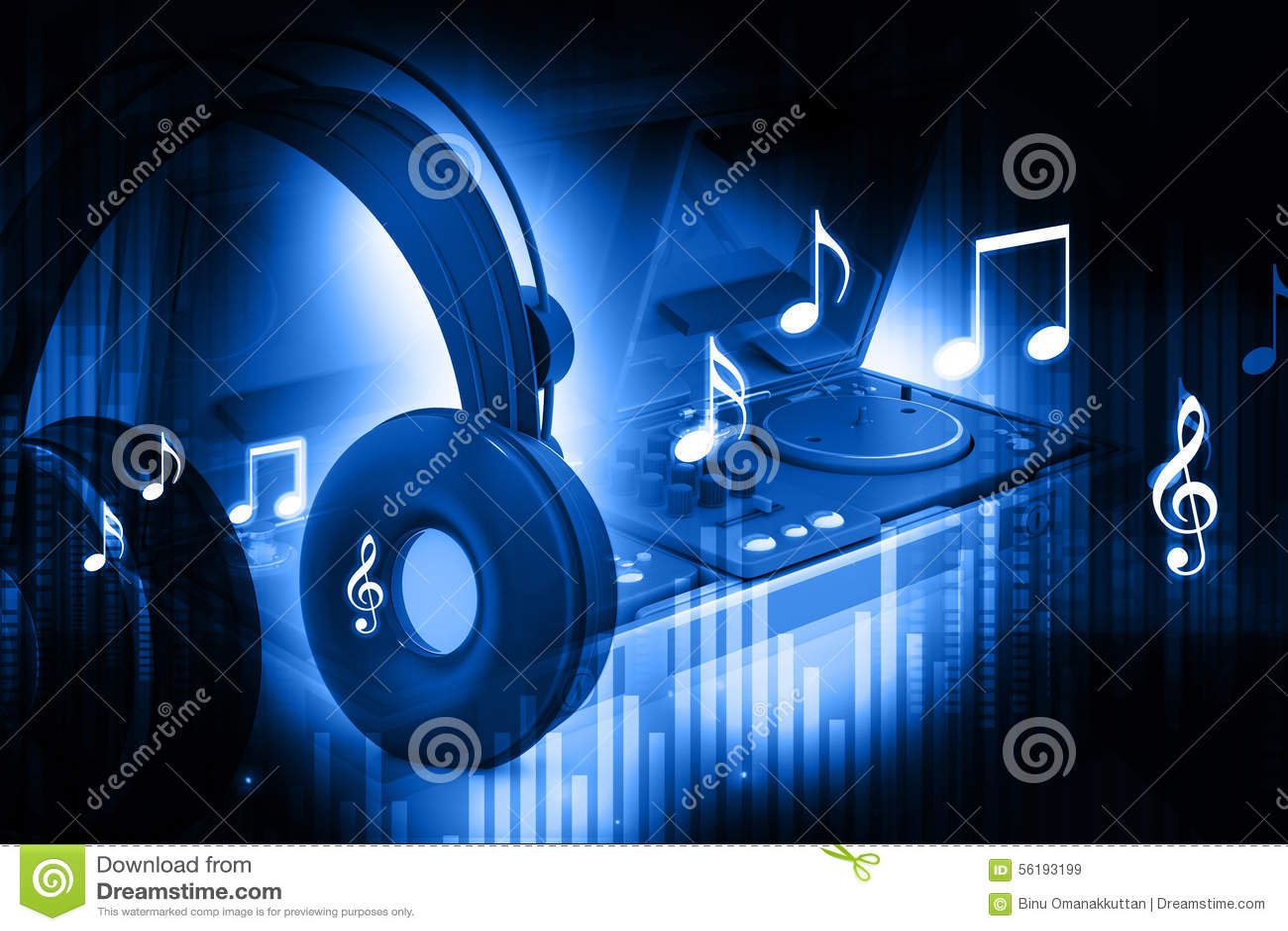 dj mixer with headphones stock illustration illustration of laptop 56193199. Black Bedroom Furniture Sets. Home Design Ideas