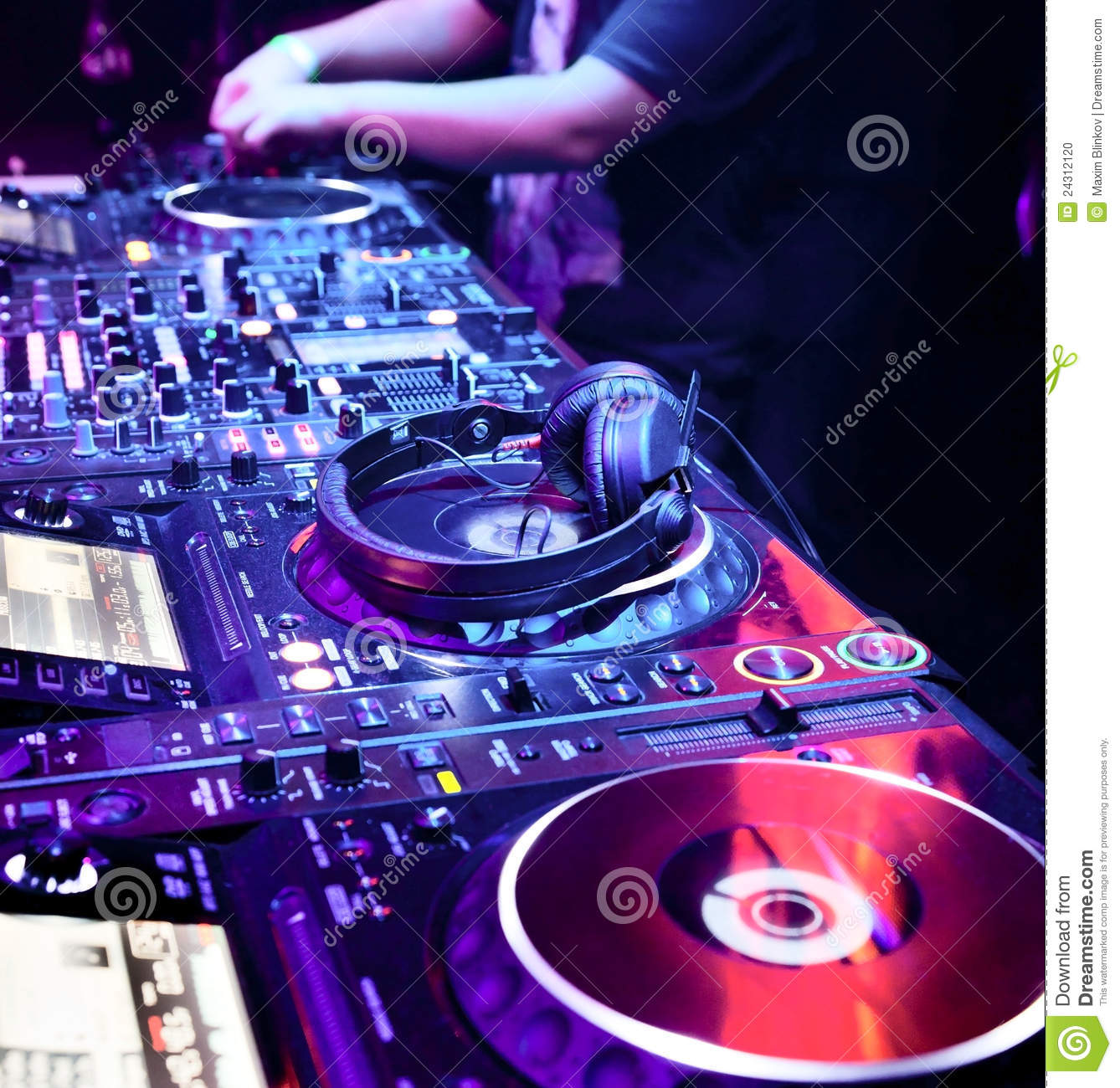 Dj mixes the track stock photo  Image of channels, nightclub