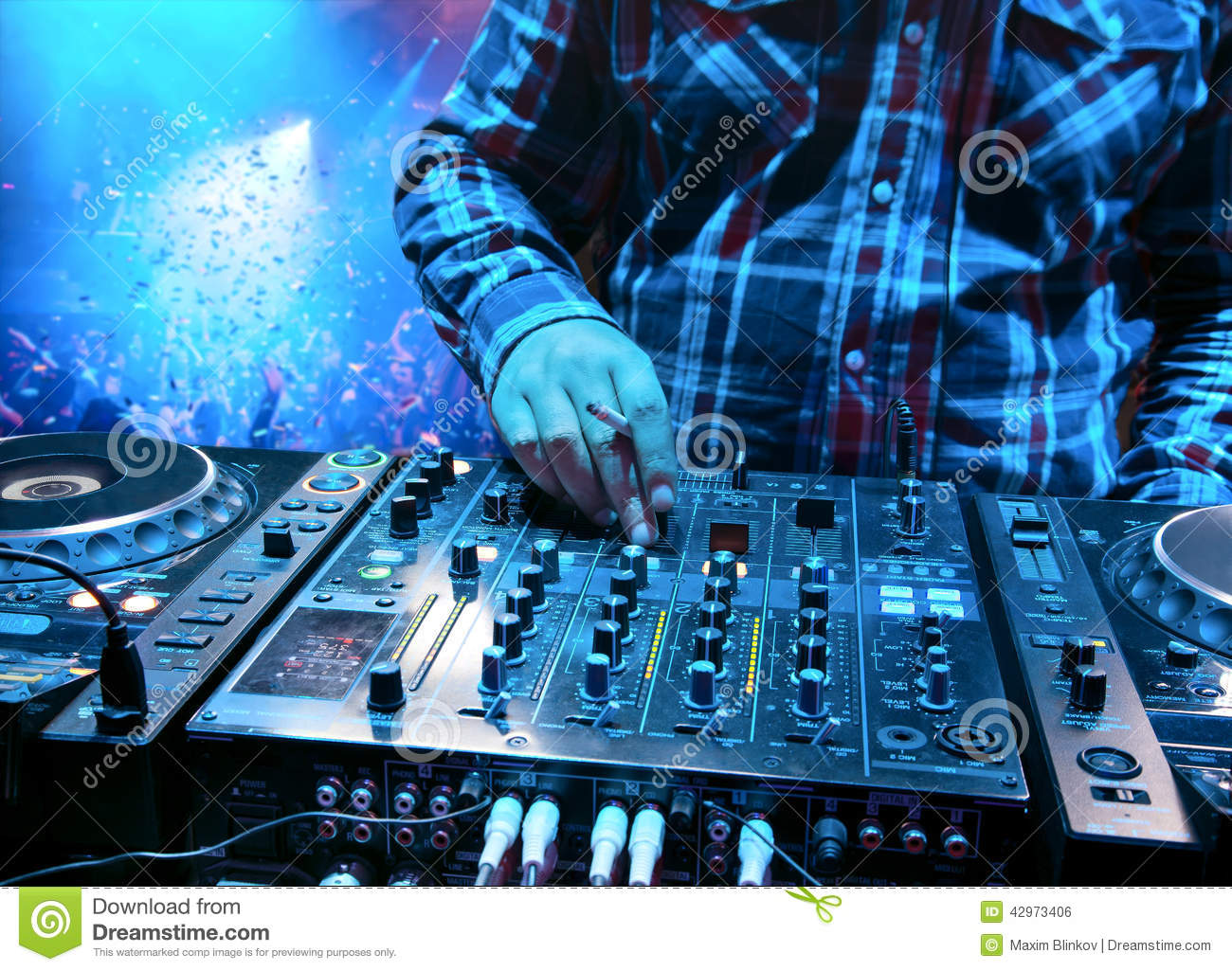Dj mixes the track stock photo  Image of club, electronics