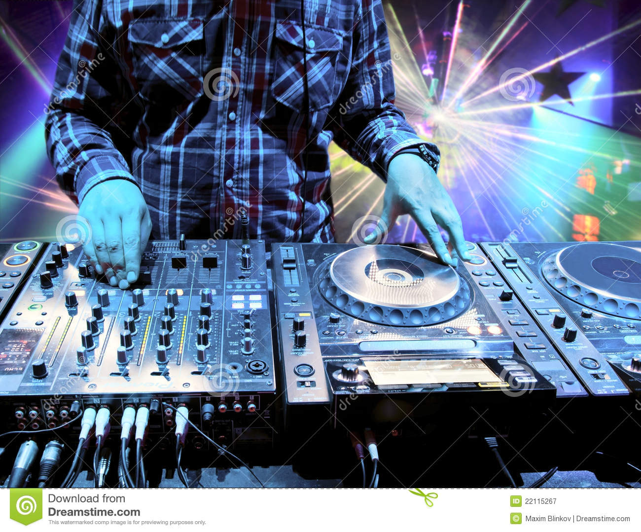 Dj Mixes The Track In The Nightclub Stock Image - Image of