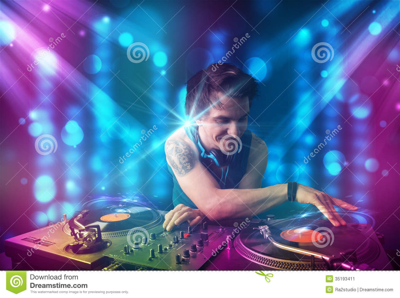 dj mixing music in a club with blue and purple lights stock illustration image 35193411. Black Bedroom Furniture Sets. Home Design Ideas
