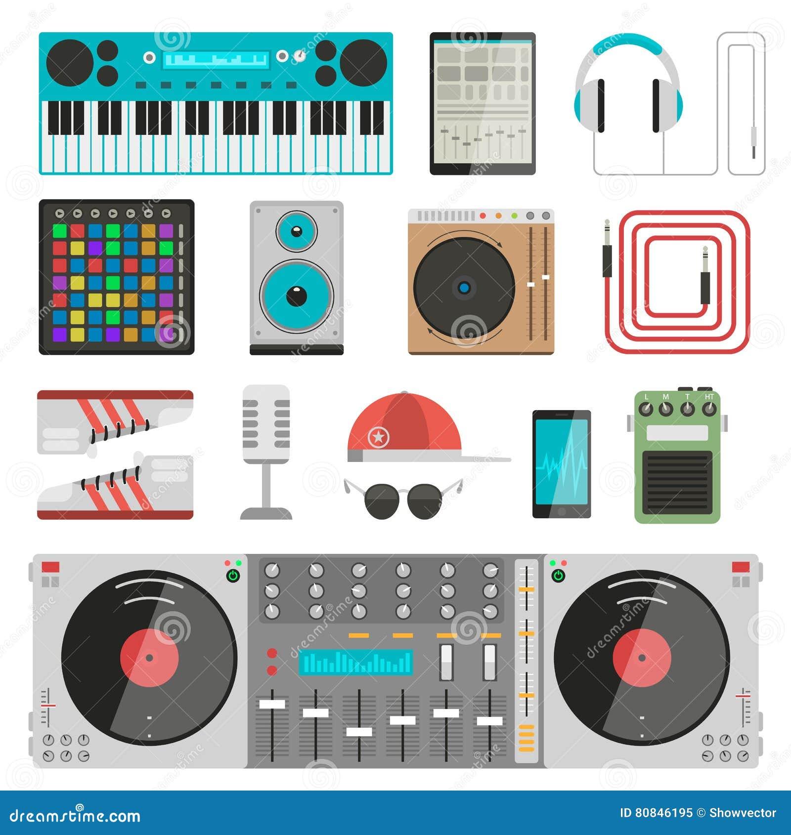 dj music equipment vector set stock vector illustration 80846195. Black Bedroom Furniture Sets. Home Design Ideas