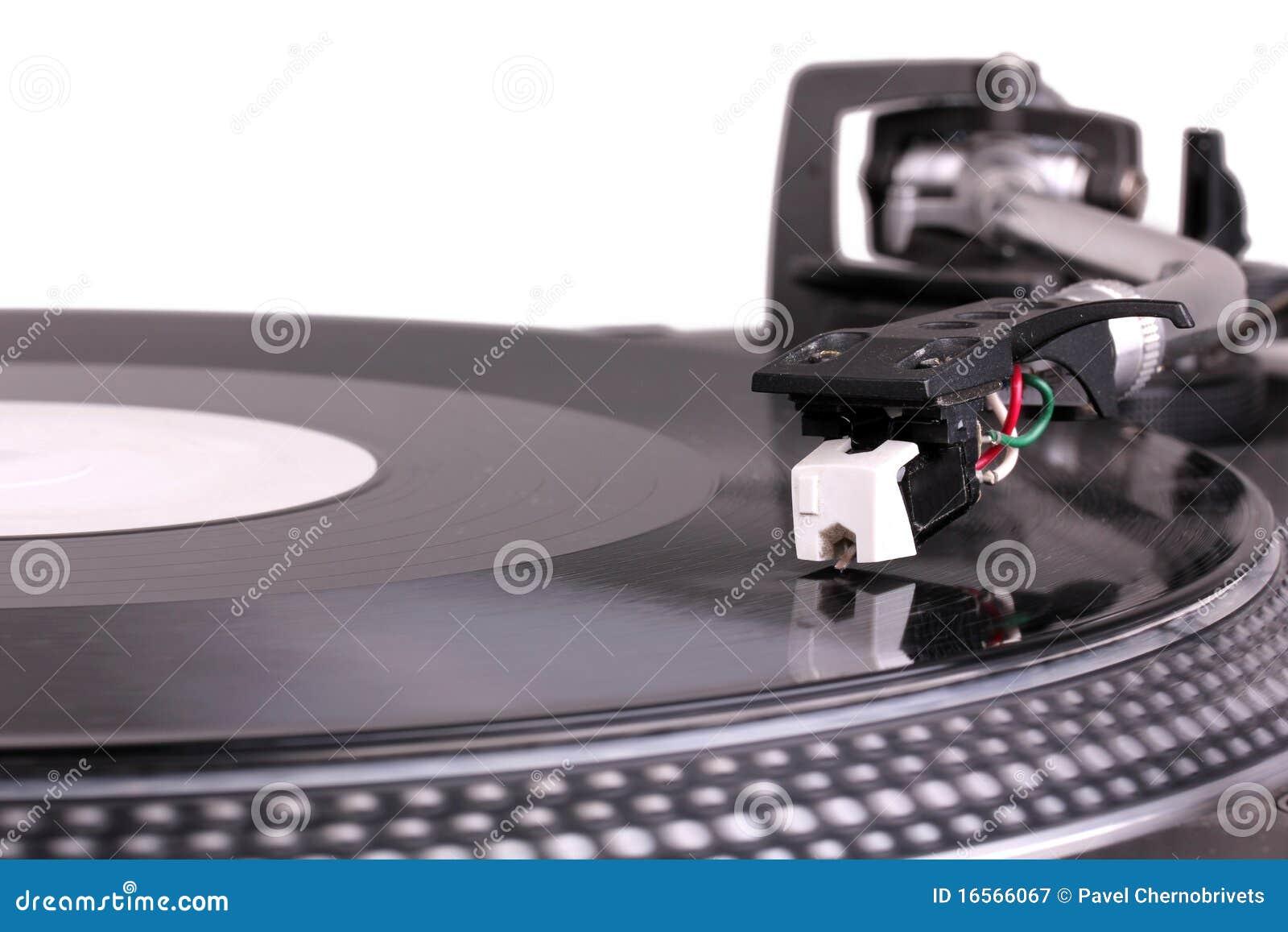Dj Needle On Spinning Turntable Royalty Free Stock ...