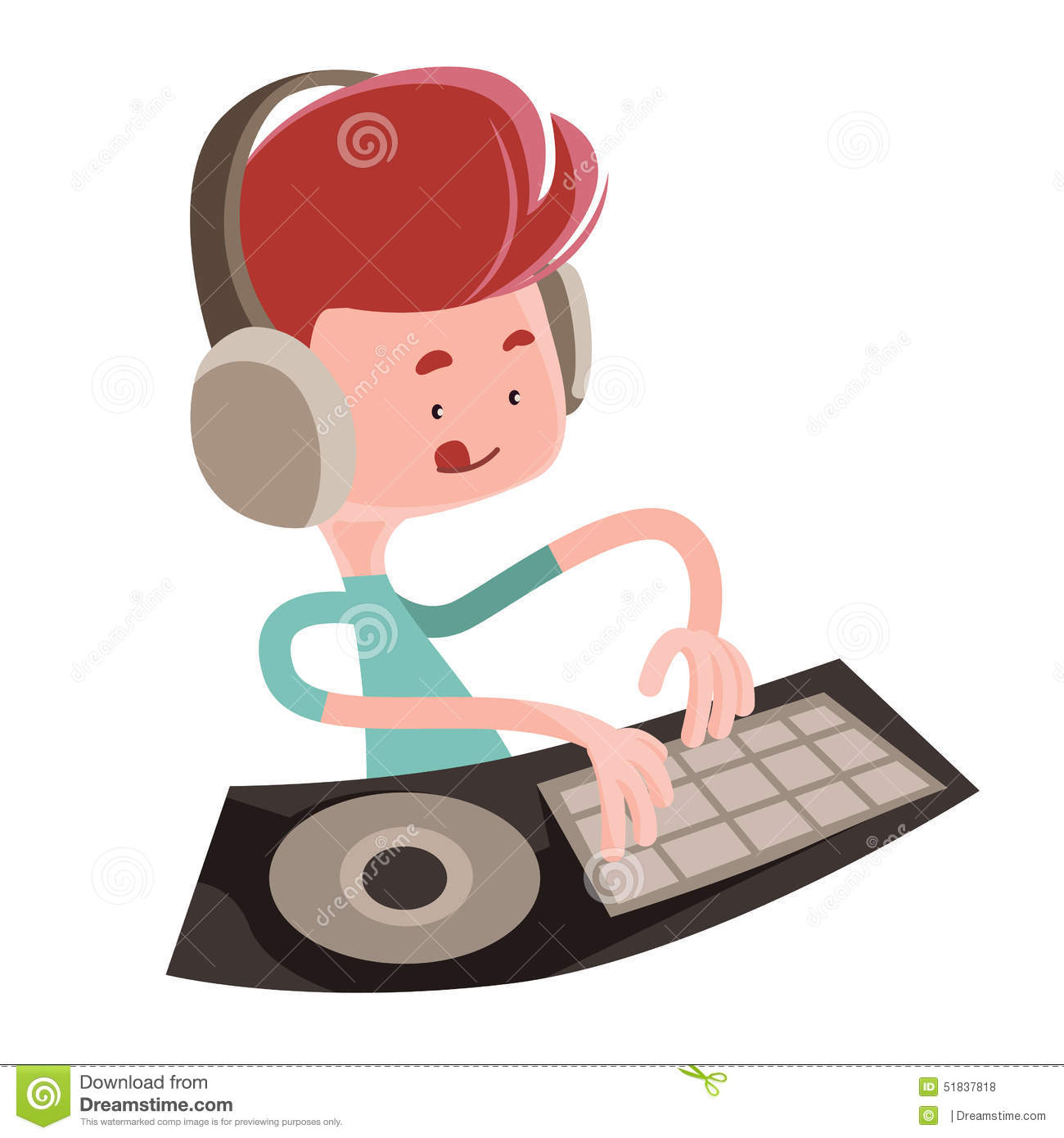 Dj Playing Music Beats Illustration Cartoon Character Stock Illustration Image 51837818