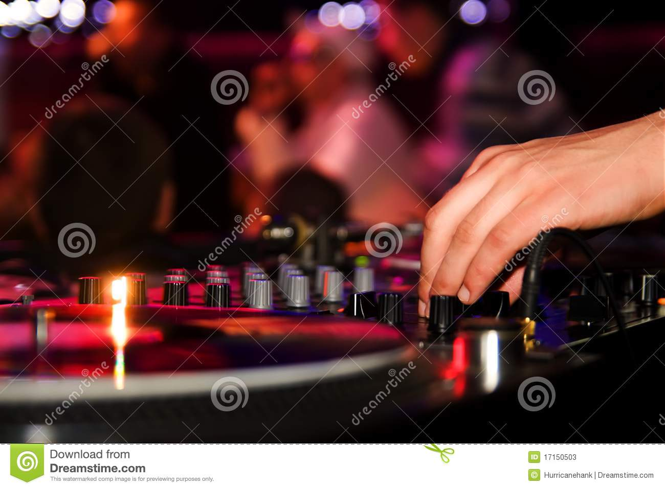Dj Playing Vinyl On Turntable In The Club Stock Image