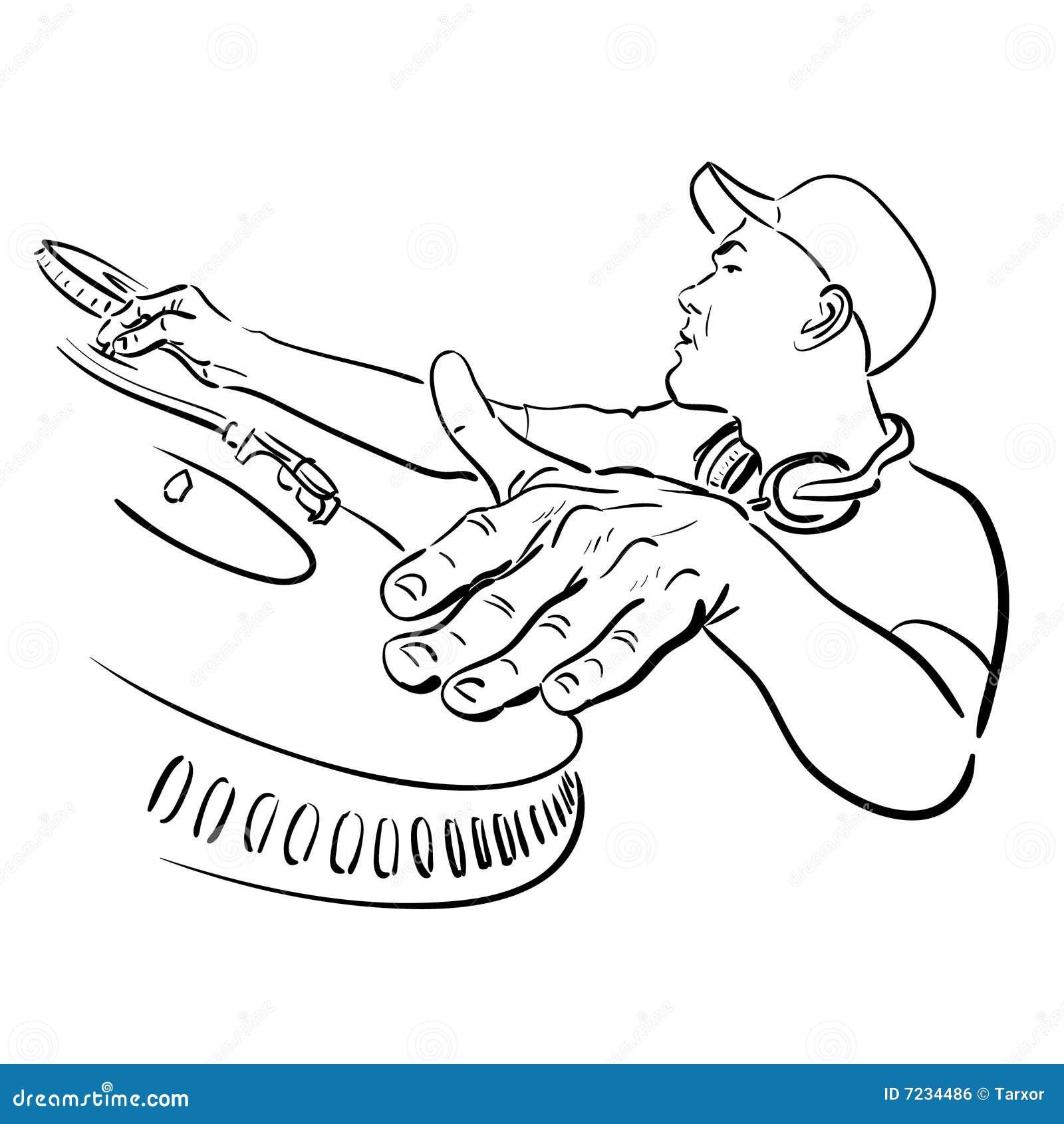 Dj Plays Music Stock Vector Image Of Line Spinning Human 7234486