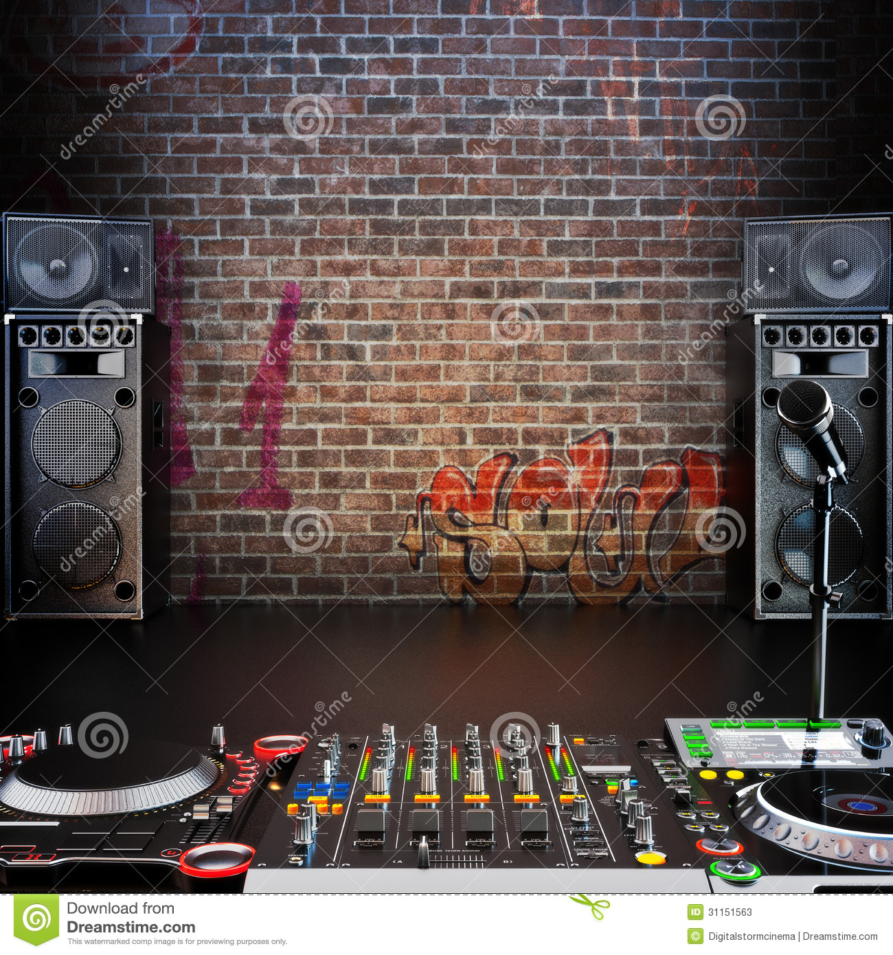 Dj R Amp B Rap Pop Music Background With Microphone Stock