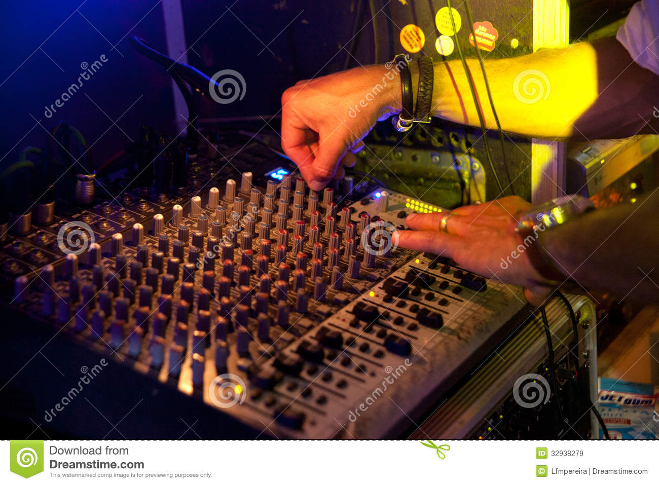 Dj On Sound Table Royalty Free Stock Images Image 32938279