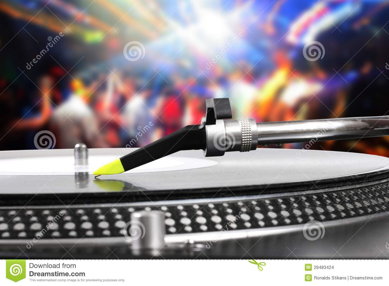 Dj Turntable With Vinyl Record In The Dance Club Stock