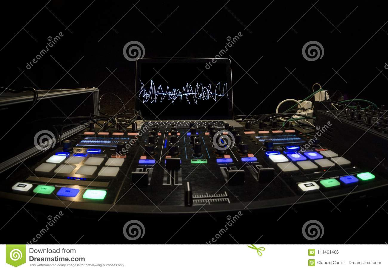 Dj Panel Setup For Rave Party Stock Photo Image Of Sound Mixer