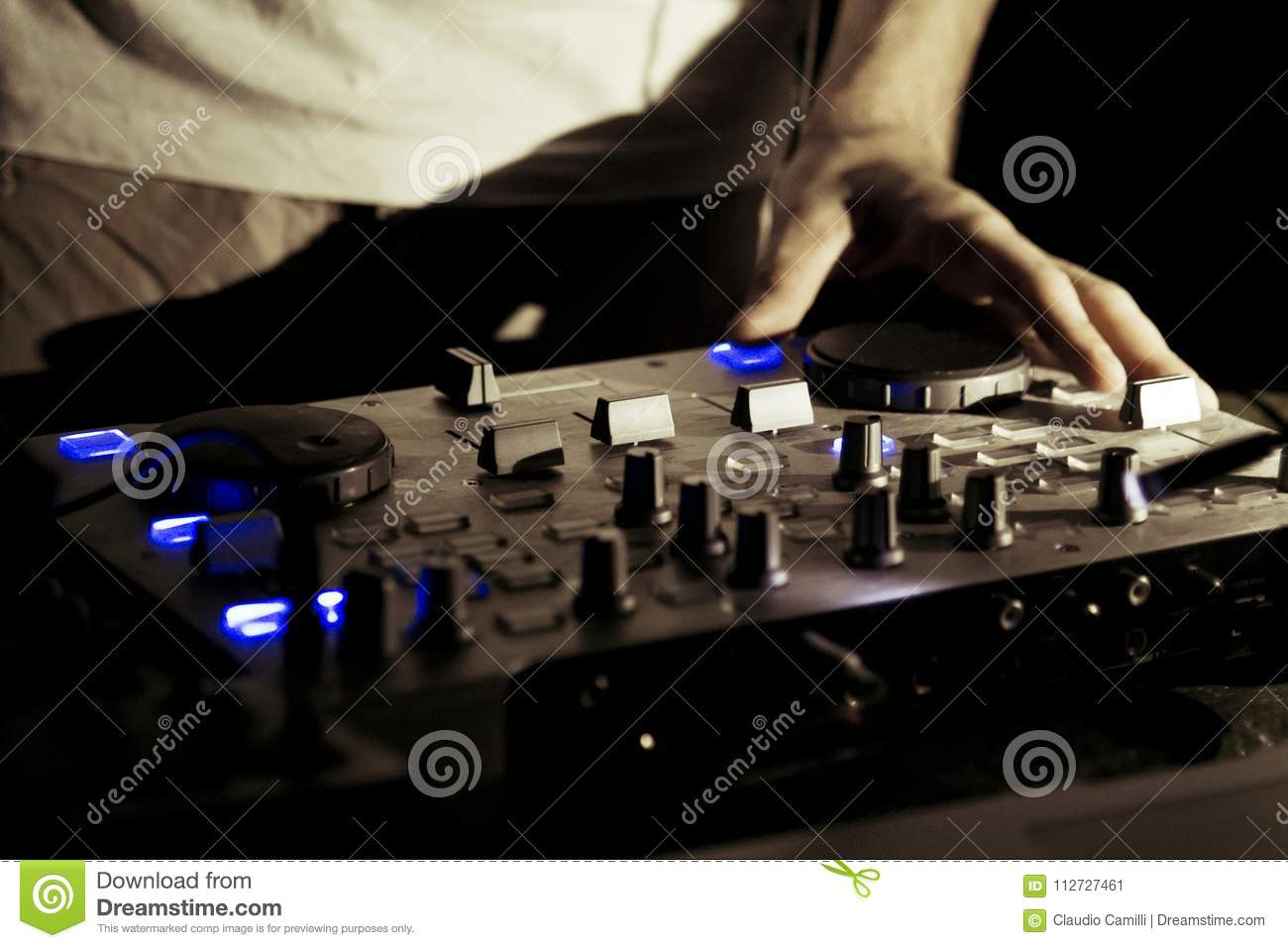 Dj Work In Disco Music Live Event Stock Image - Image of