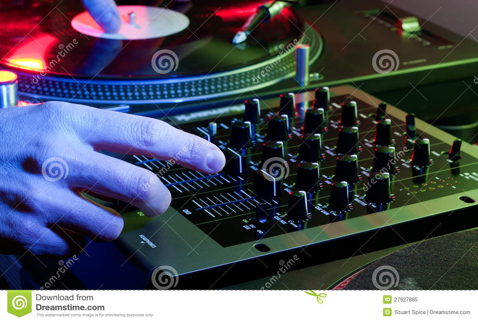 Dj Using Both Hands On A Mixer Setup Stock Image Image Of Music