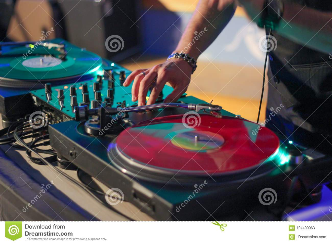 DJ On Vinyl Records Behind The Console Stock Image - Image