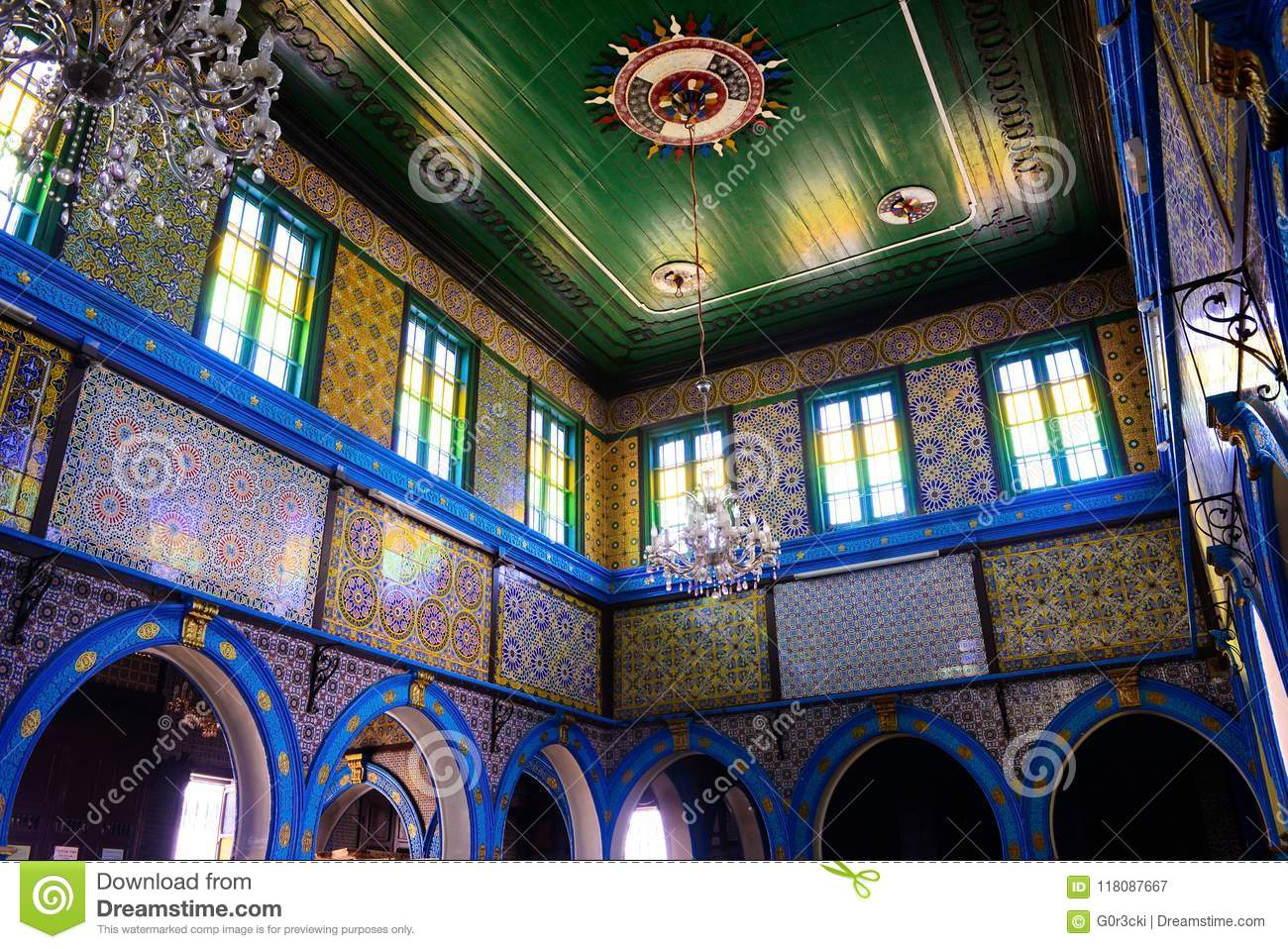 Tunisia, Synagogue Djerba Ghriba, Arabic and Colorful Patterns, Glazed Tiles Walls, Religion, Jewish Temple, Travel Africa