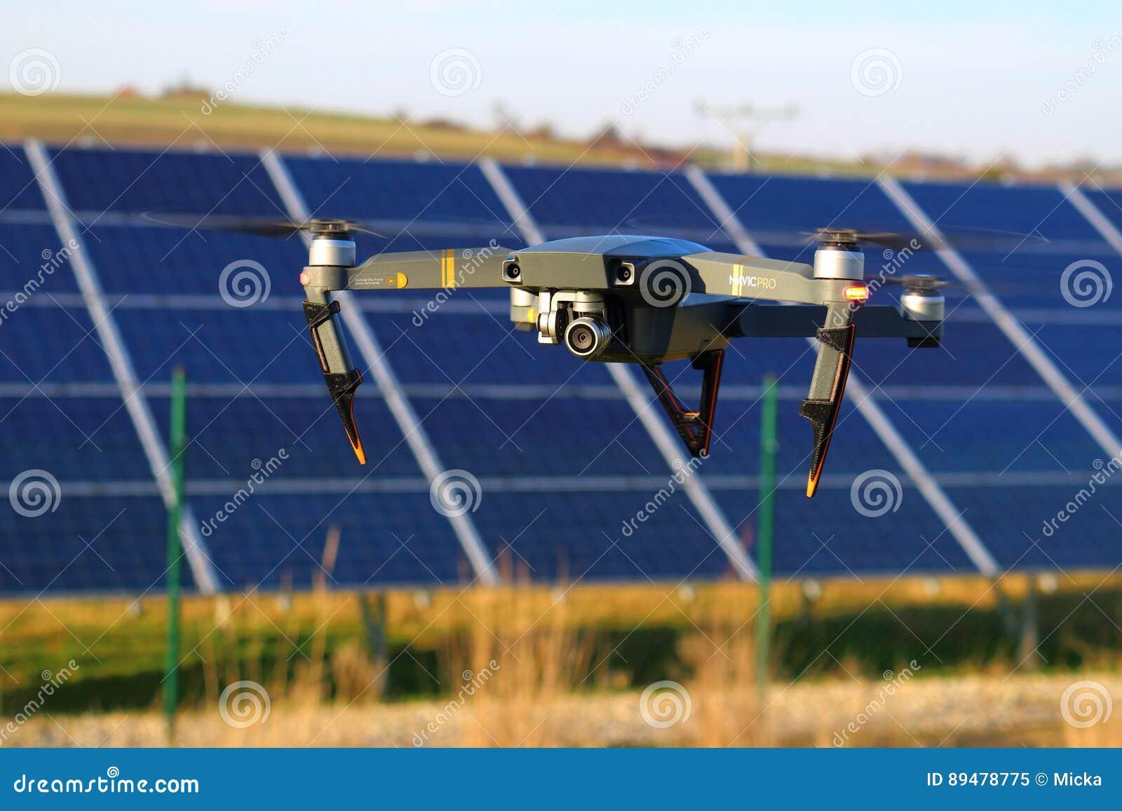 DJI Mavic Pro Drone Above Solar Panels Editorial Image