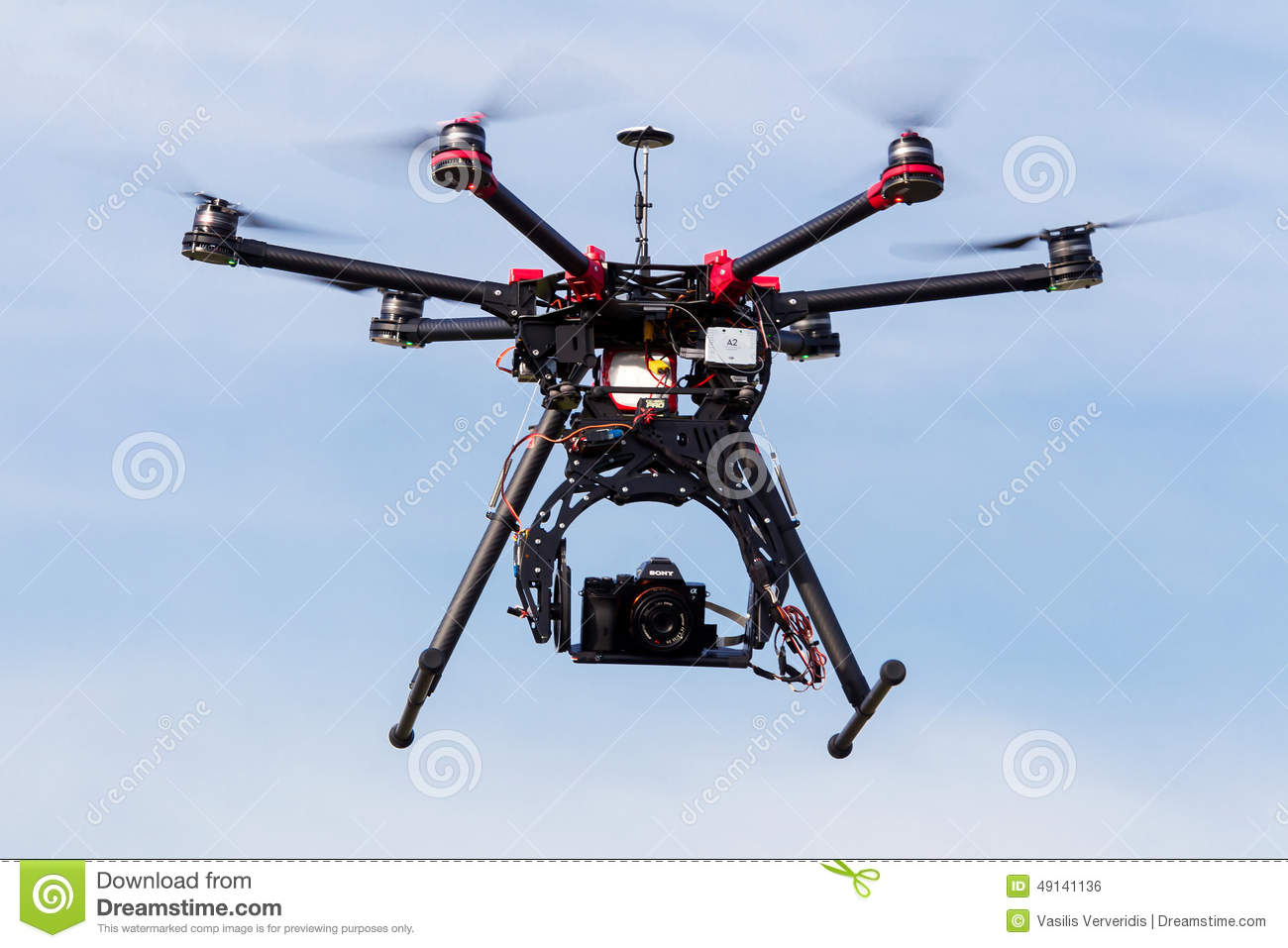 Dji S900 Drone In Flight With A Mounted Sony A7 Edition