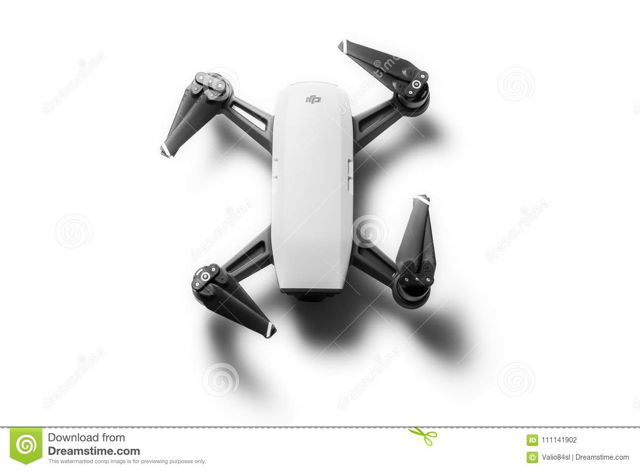 Dji Spark Drone Mini Quadcopter Isolated On White Editorial
