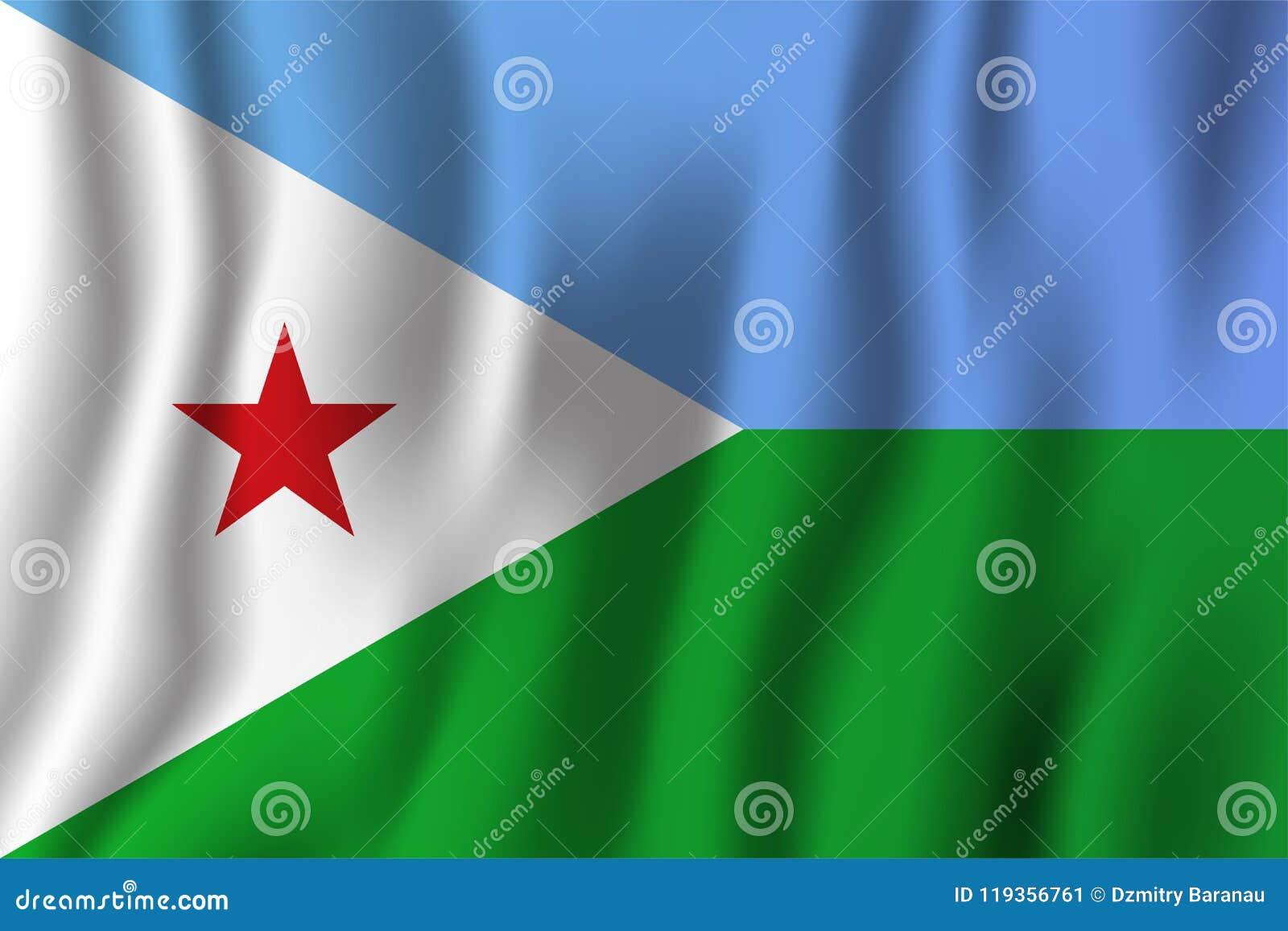 Djibouti falowania flaga wektoru realistyczna ilustracja Krajowy cou
