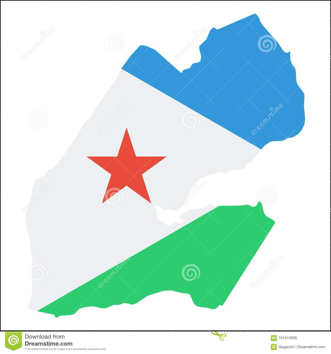 Djibouti High Resolution Map With National Flag  Stock Vector