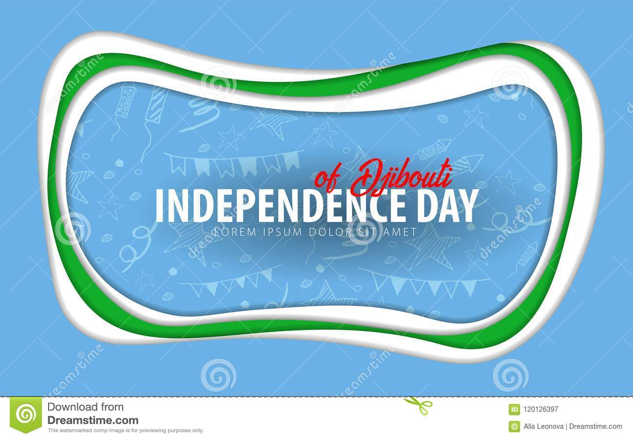 Djibouti. Independence day greeting card. Paper cut style.
