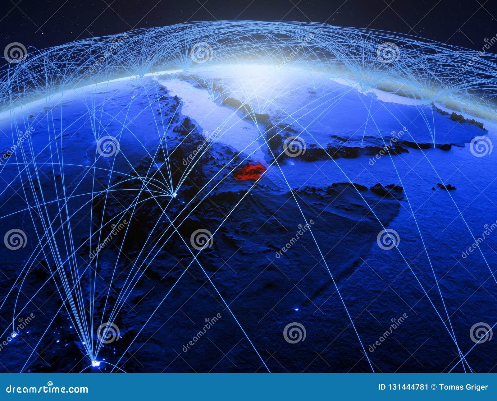 Djibouti op blauwe digitale aarde met internationaal netwerk die mededeling, reis en verbindingen vertegenwoordigen 3d