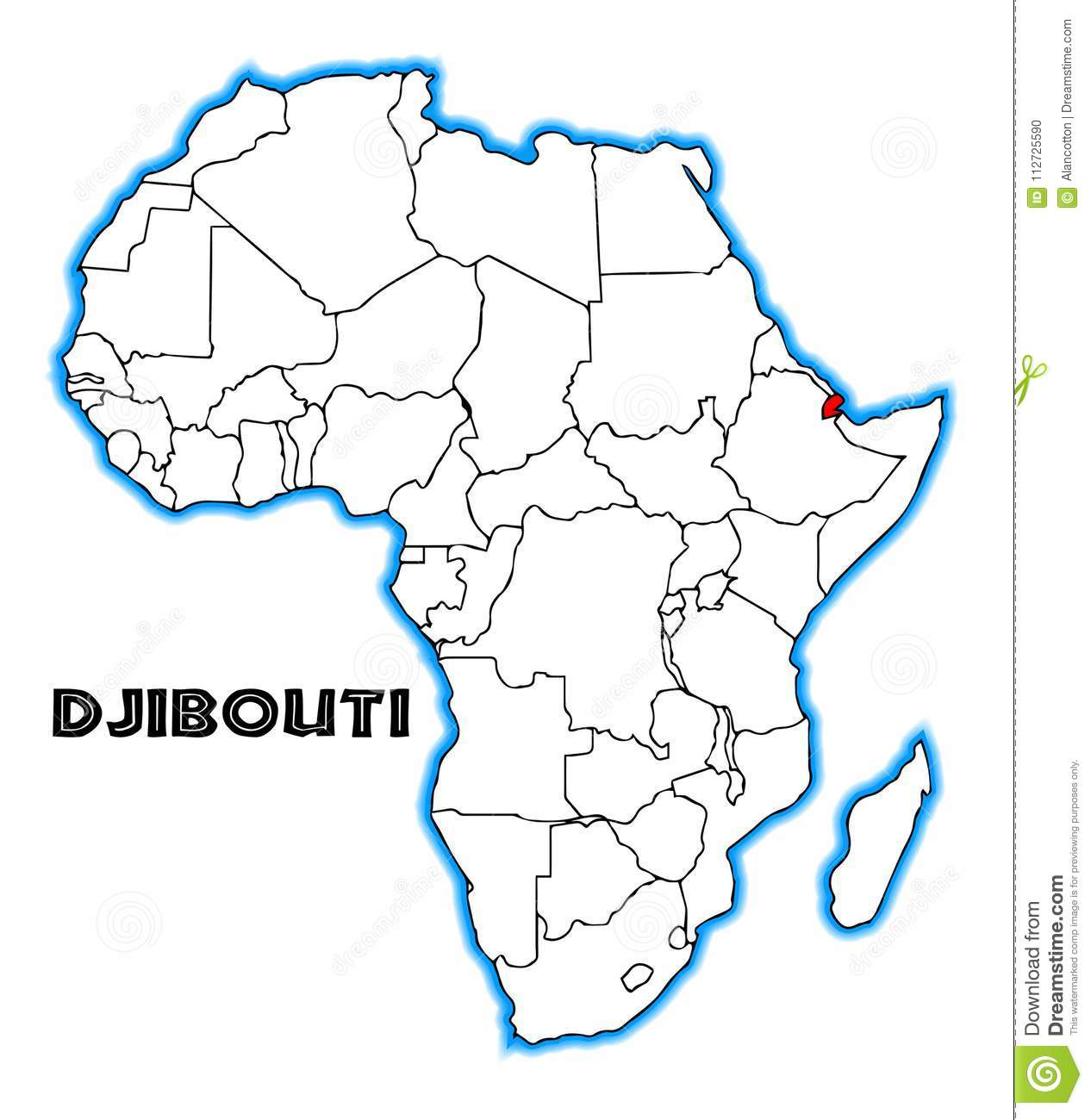Djibouti On Africa Map.Djibouti Africa Map Stock Illustration Illustration Of Outline