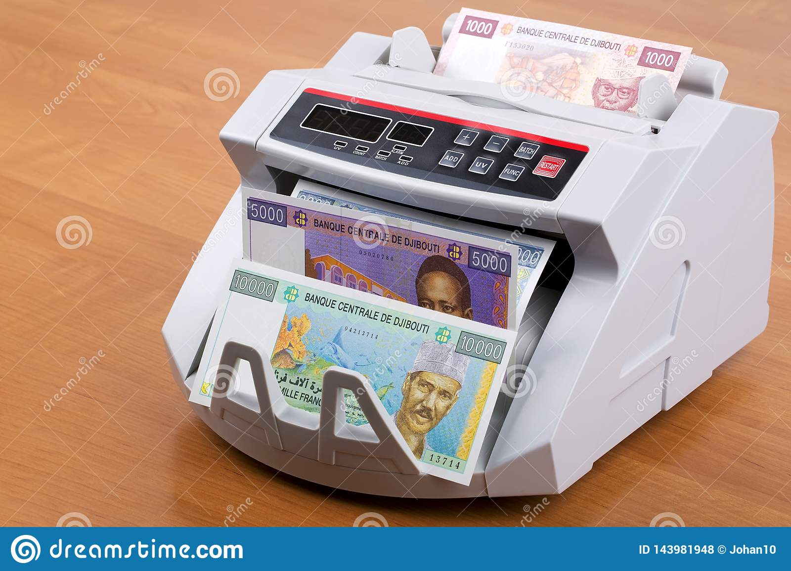 Djiboutian φράγκο σε μια μετρώντας μηχανή