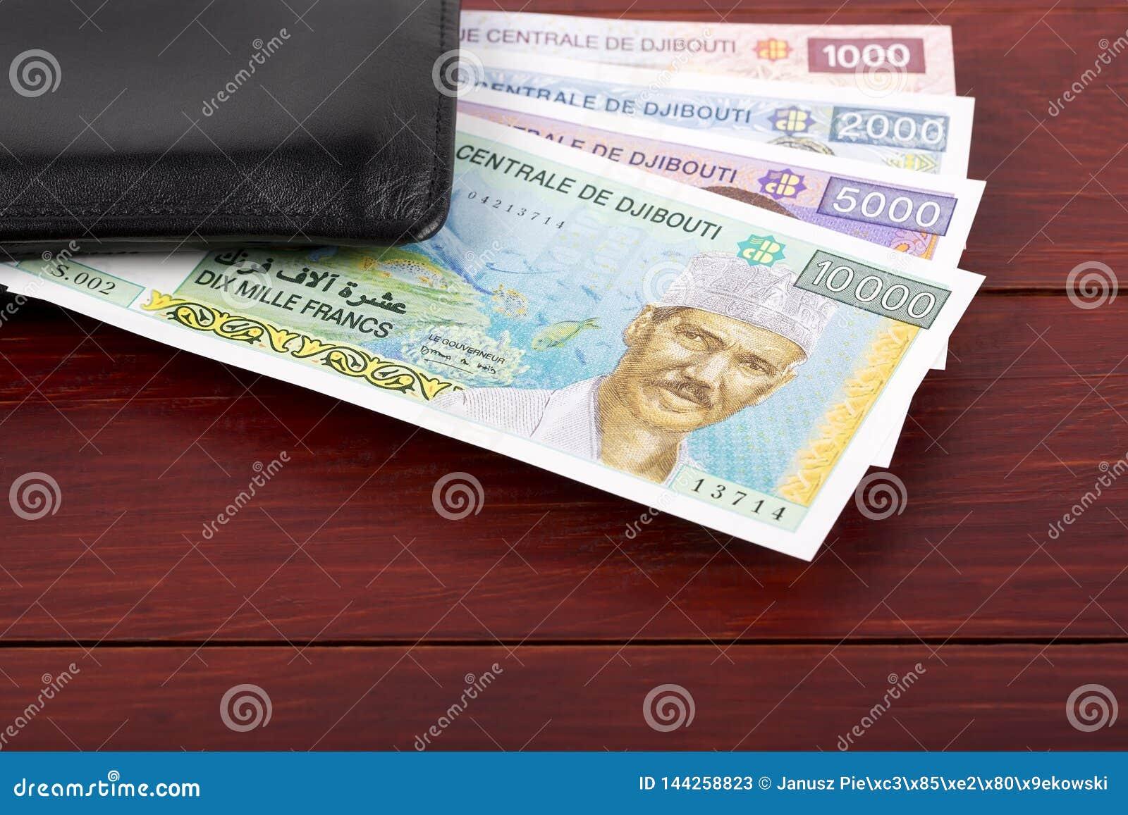 Djiboutian φράγκο στο μαύρο πορτοφόλι