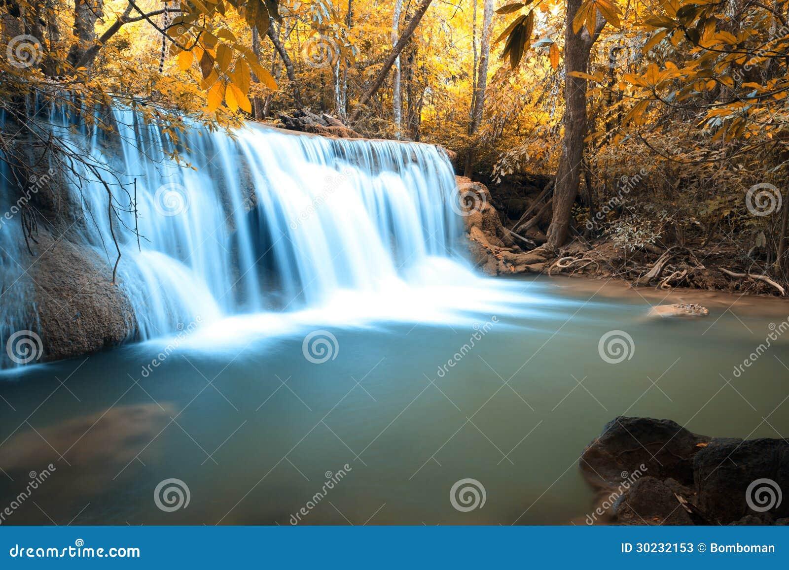 Djup skogvattenfall för höst