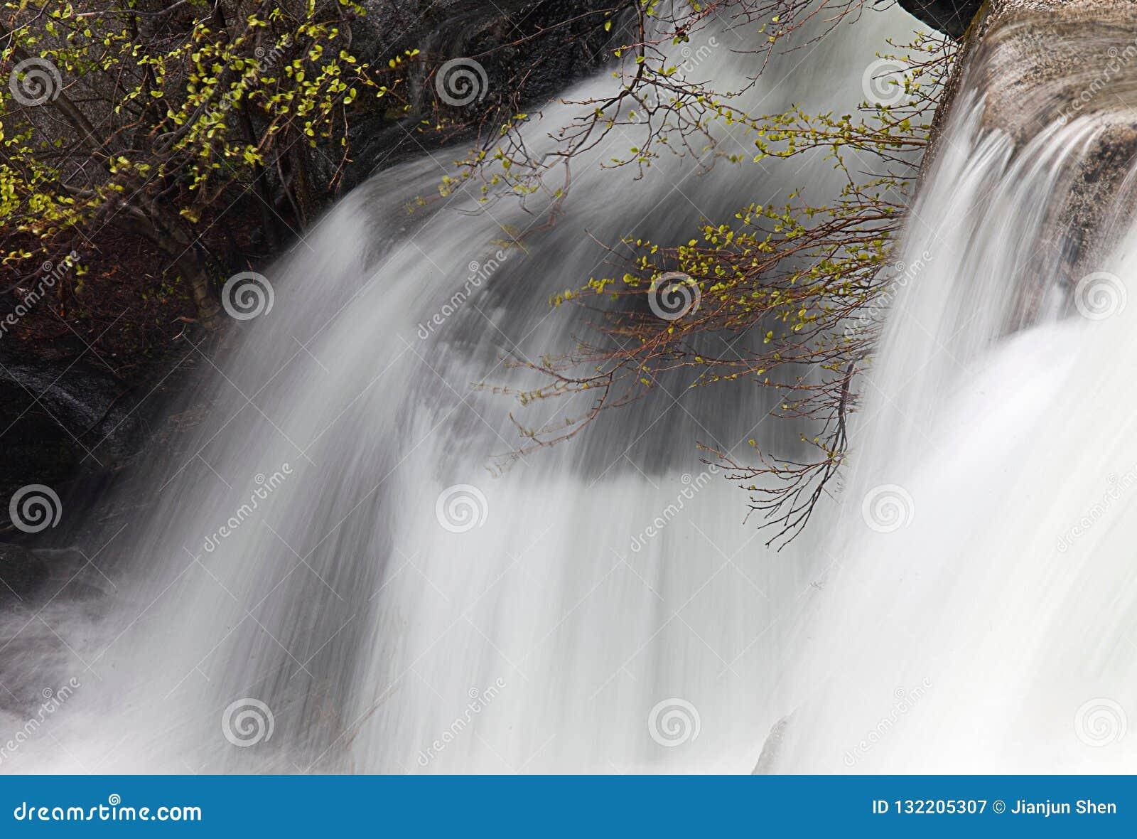 Djup syn på vattennedgången på den Yosemite nationalparken