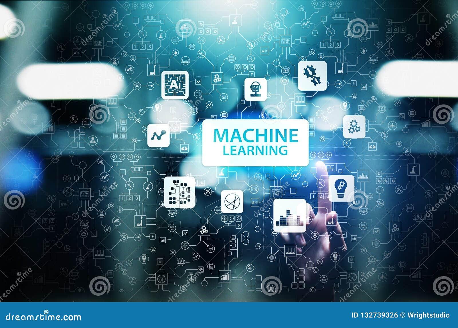 Djupa lärande algoritmer för maskin, konstgjord intelligens AI, automation och modern teknologi i affär som begrepp