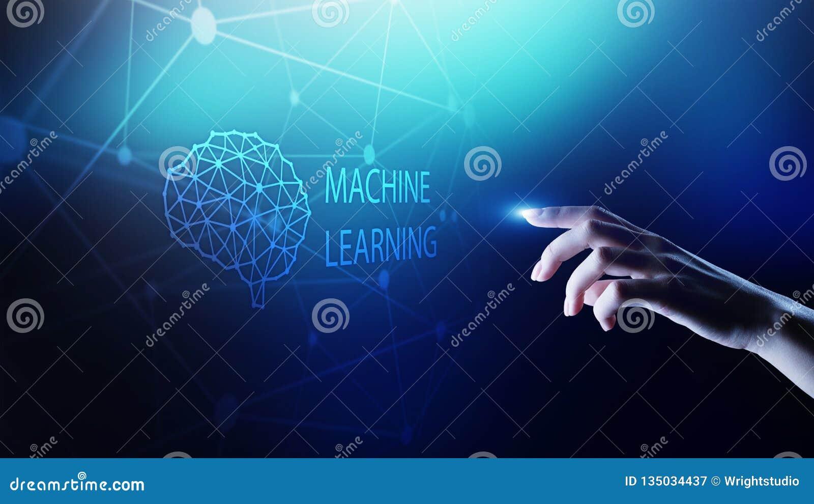 Djupa lärande algoritmer för maskin och konstgjord intelligens för AI Internet- och teknologibegrepp på den faktiska skärmen