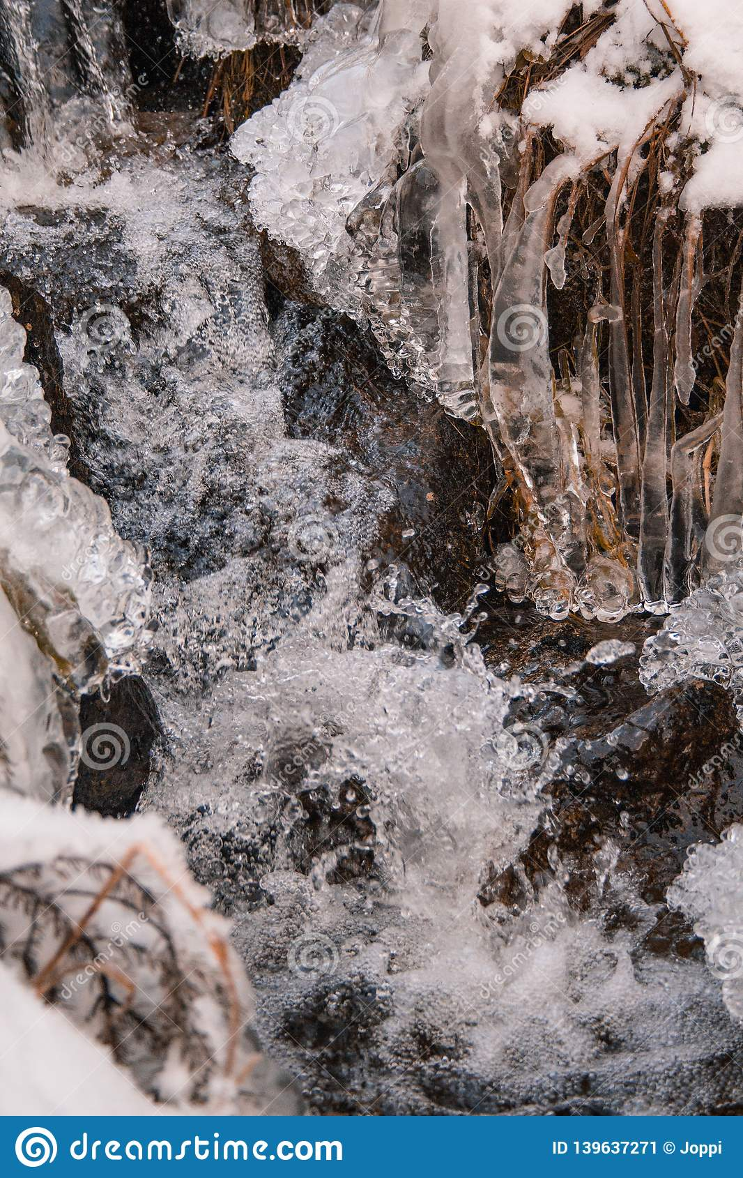 Djupfryst liten vattenström i vinterlandskap