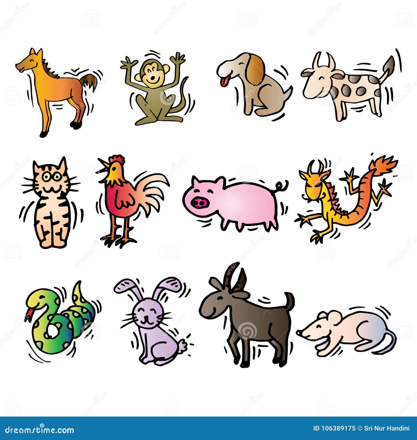 12 djur av kinesisk kalender Tecknad filmstil