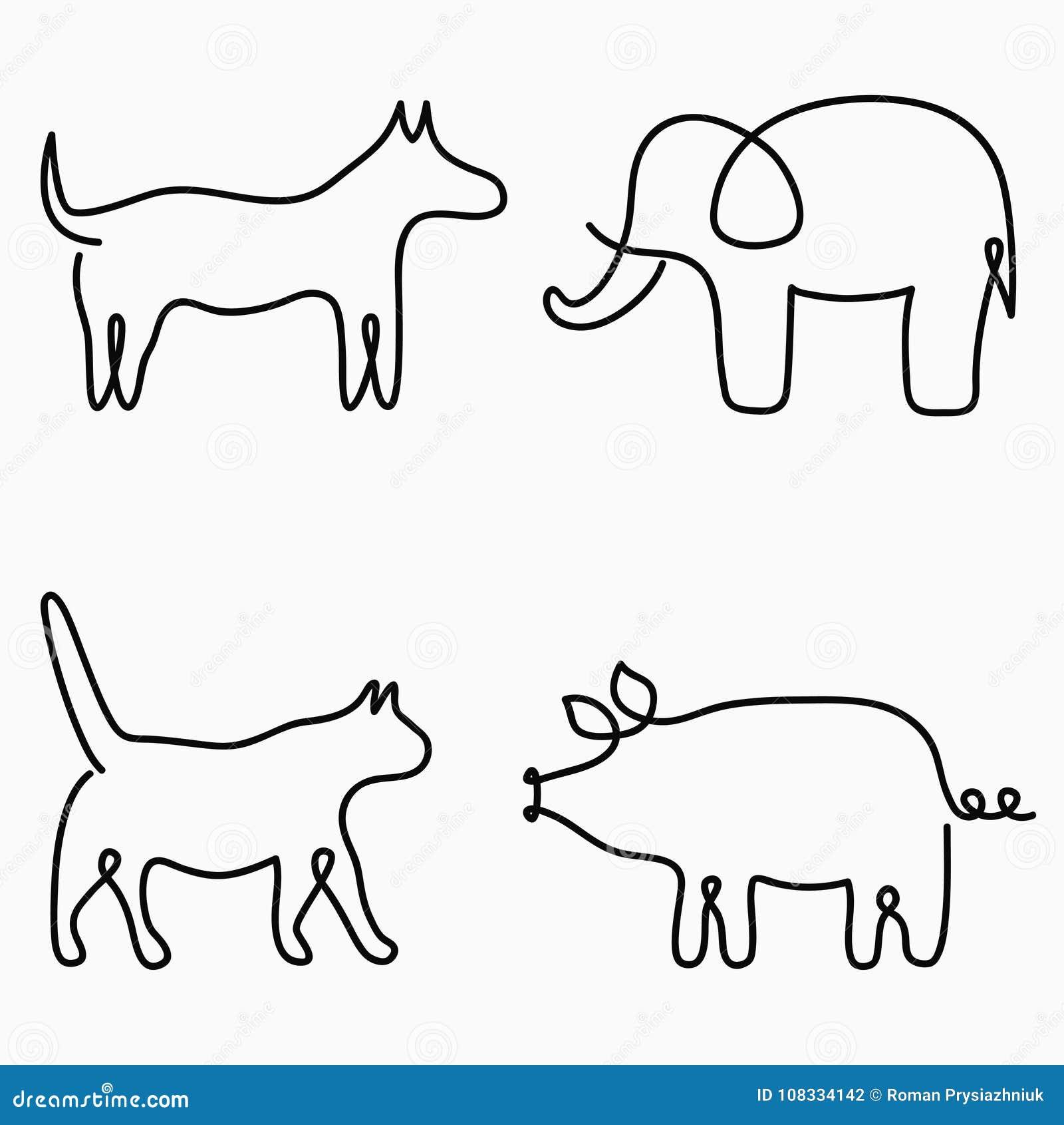 Djur en linje teckning Fortlöpande linje tryck - katt, hund, svin, elefant Hand-dragen illustration för logo vektor