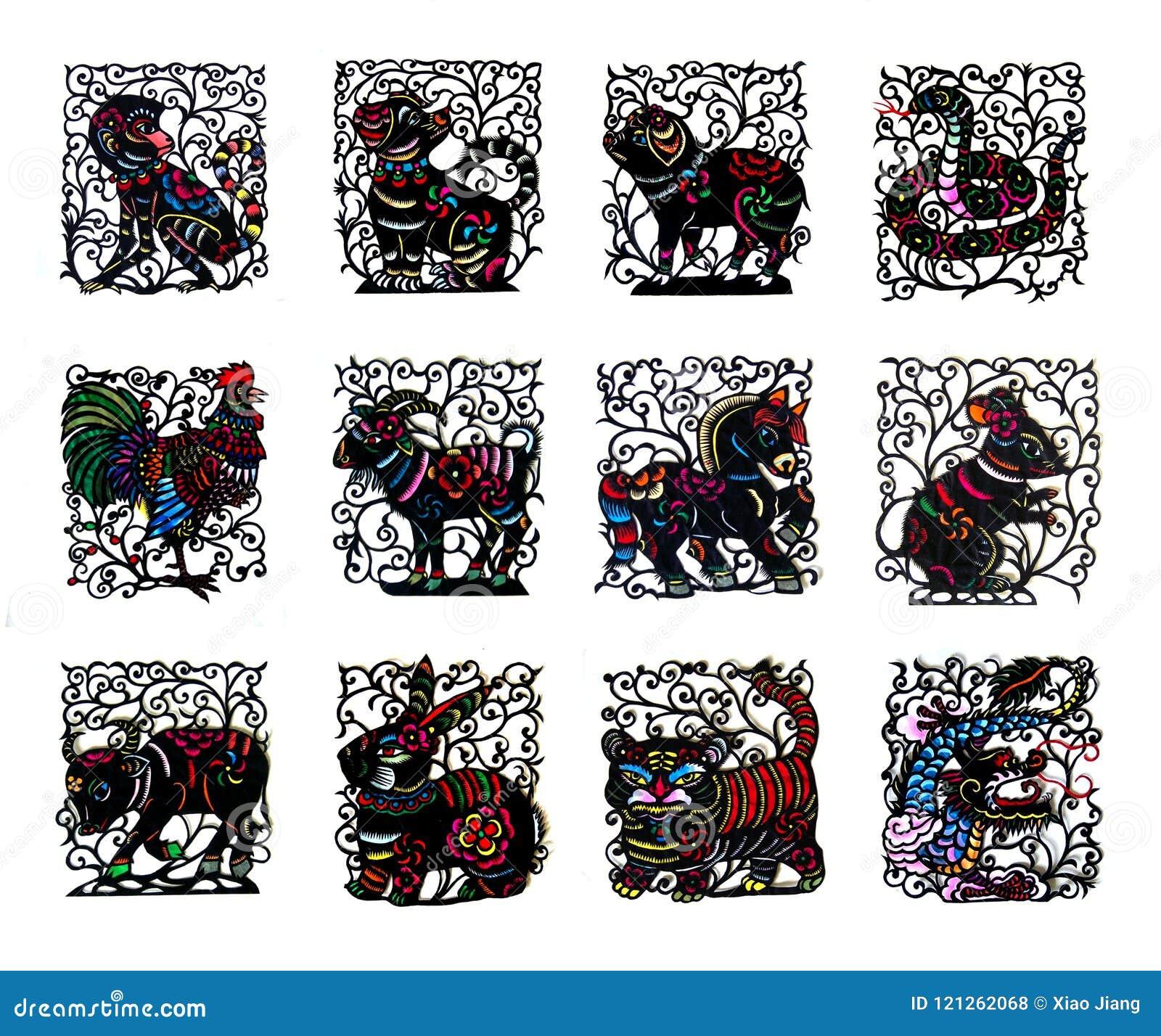 Djur för zodiak för svart handgjort snittpapper kinesiska