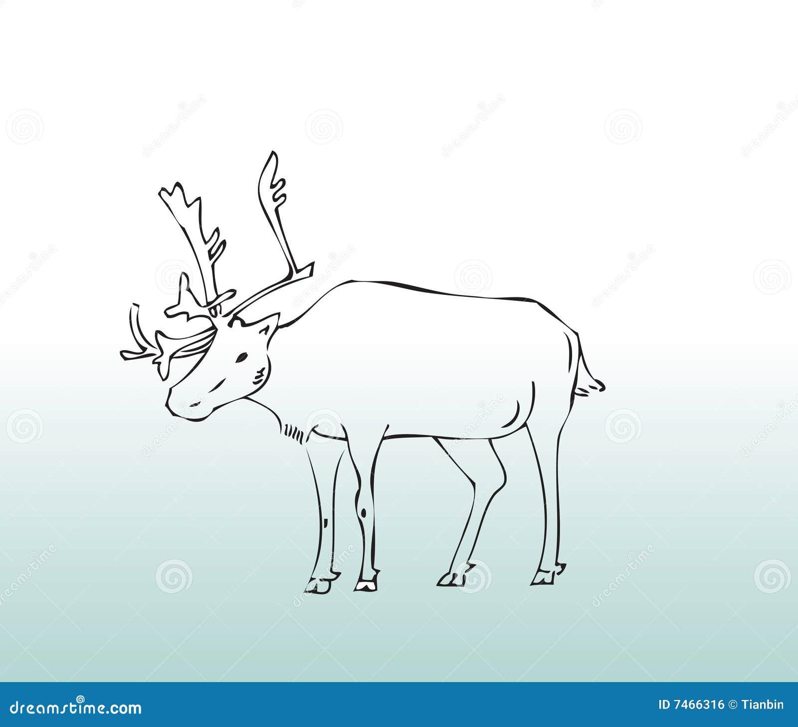 Djura hjortar tecknad hand