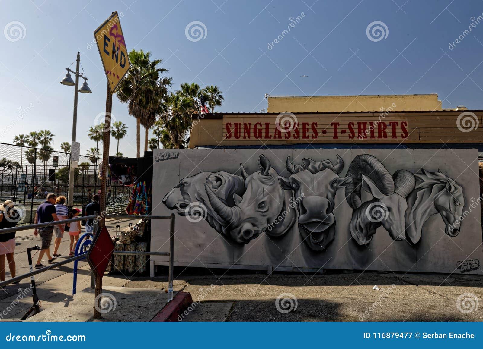 Djurhuvud som är vägg- på den Venedig stranden