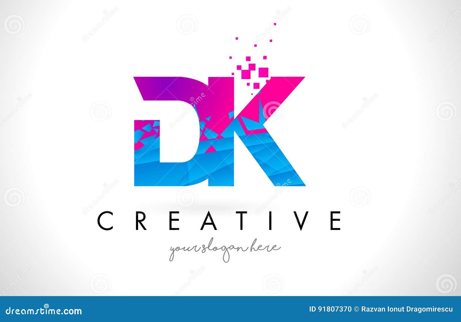 dk d k letter logo with shattered broken blue pink texture desig