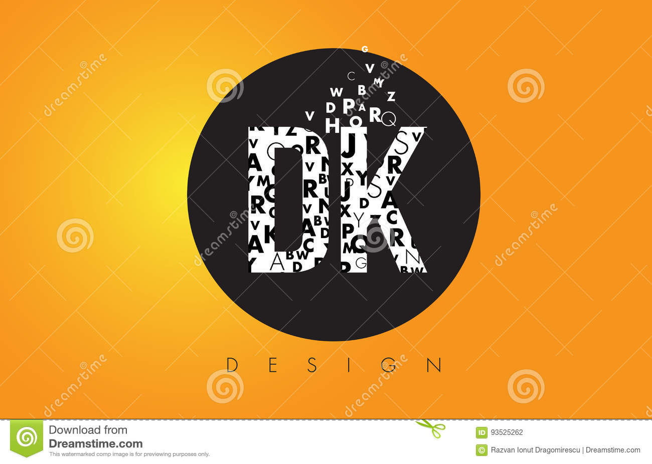 dk d k logo made of small letters with black circle and yellow b