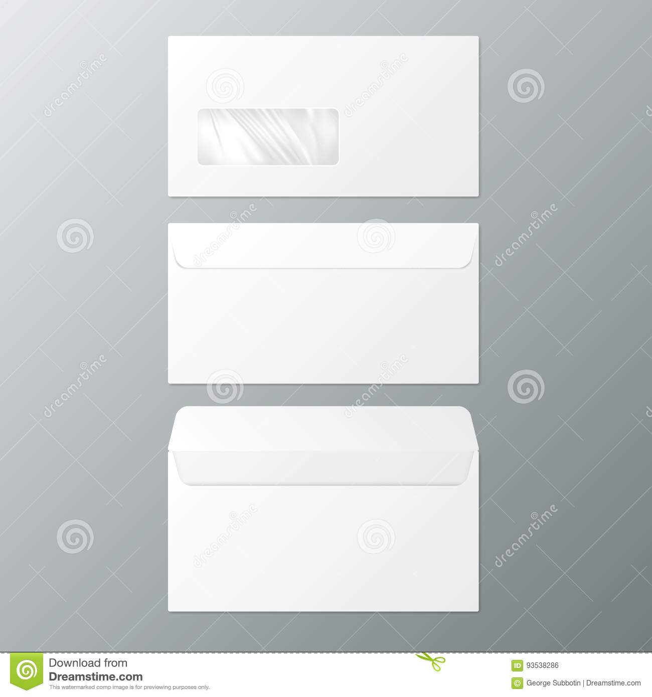 DL Envelopes. Front And Back View. Open And Close