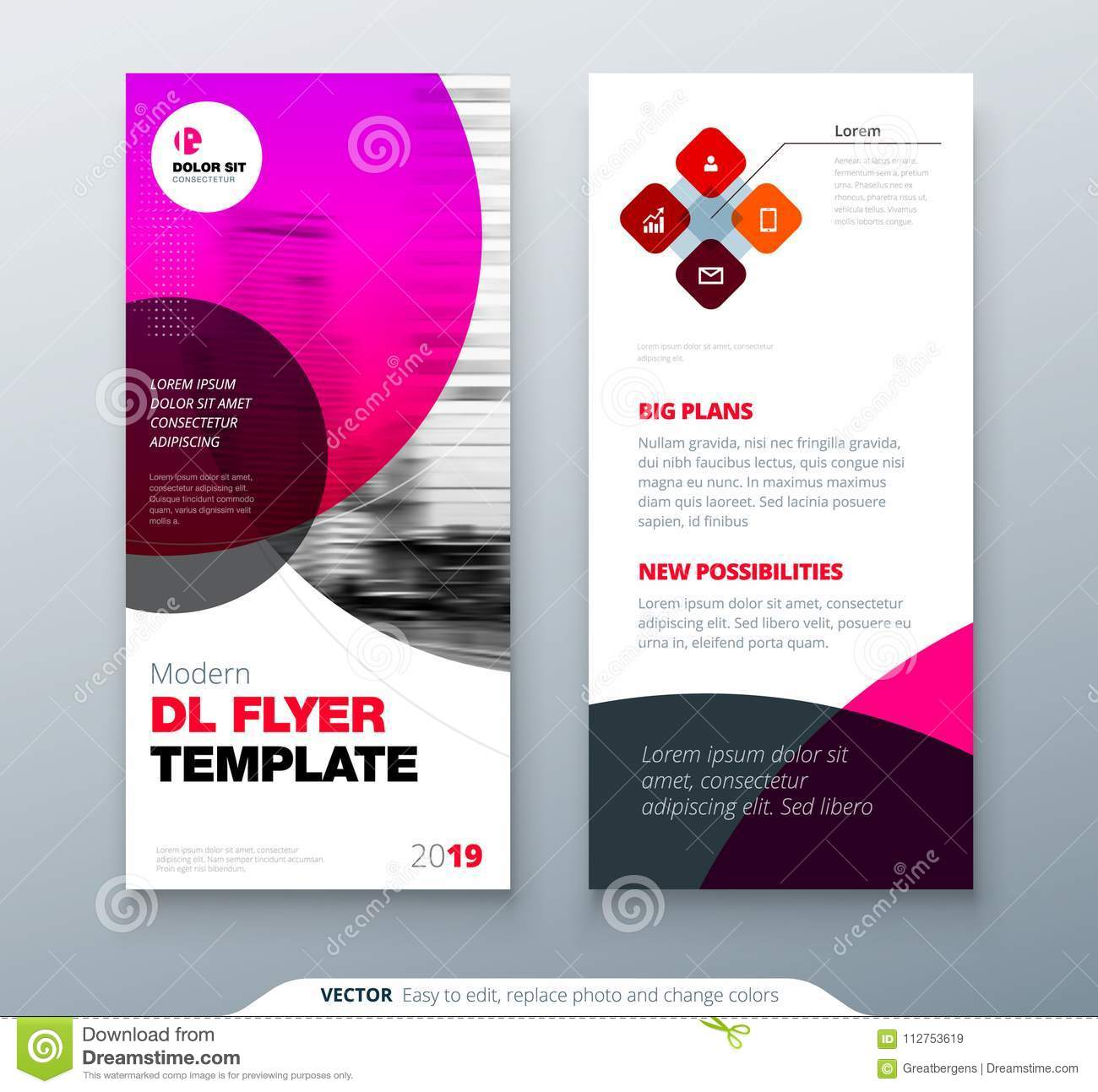 Dl Flyer Design Pink Business Template For Dl Flyer Layout With Modern Circle Photo And Abstract Background Creative Stock Vector Illustration Of Concept Glam 112753619