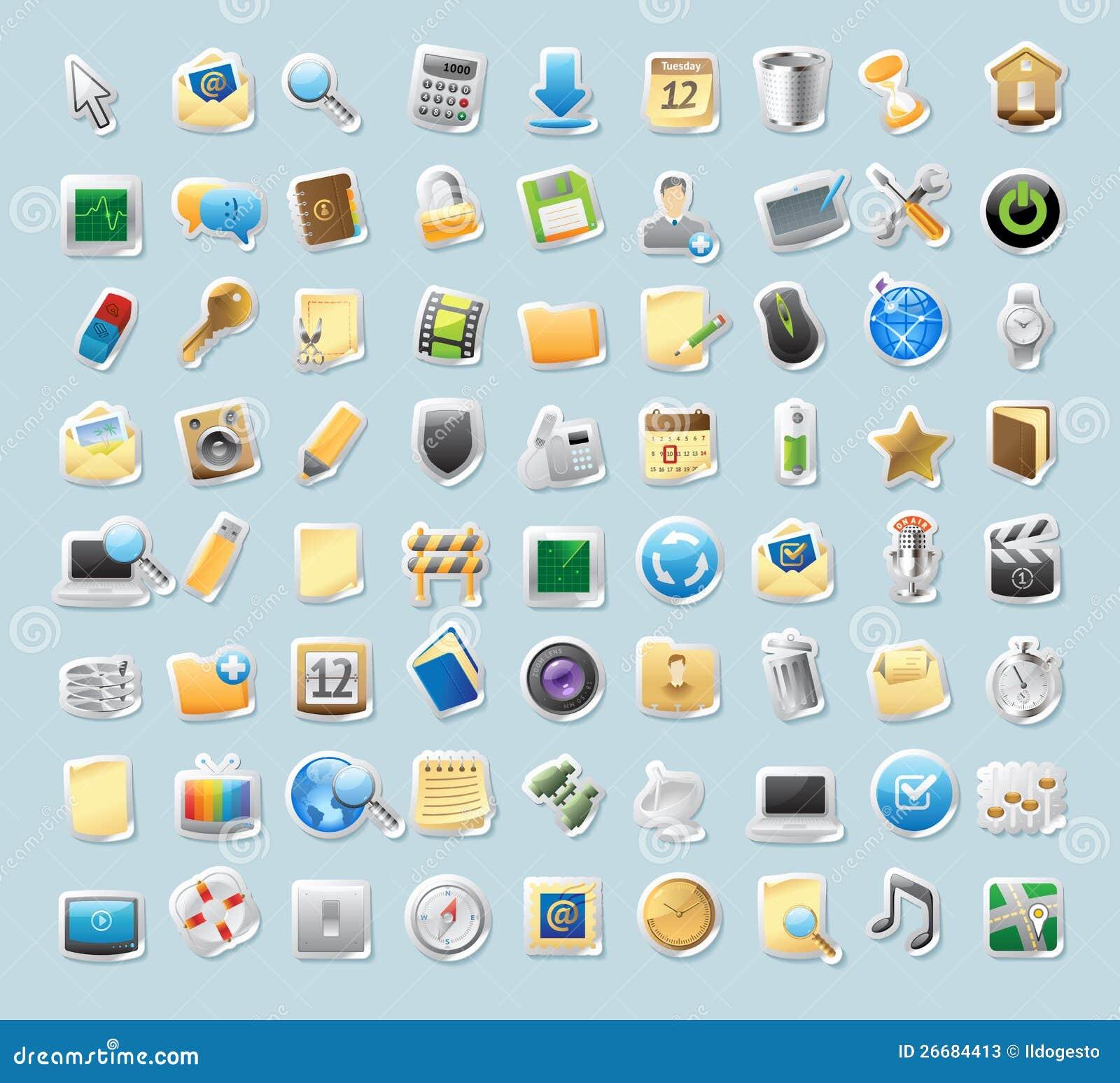 Dla znaków majcher ikony i interfejs