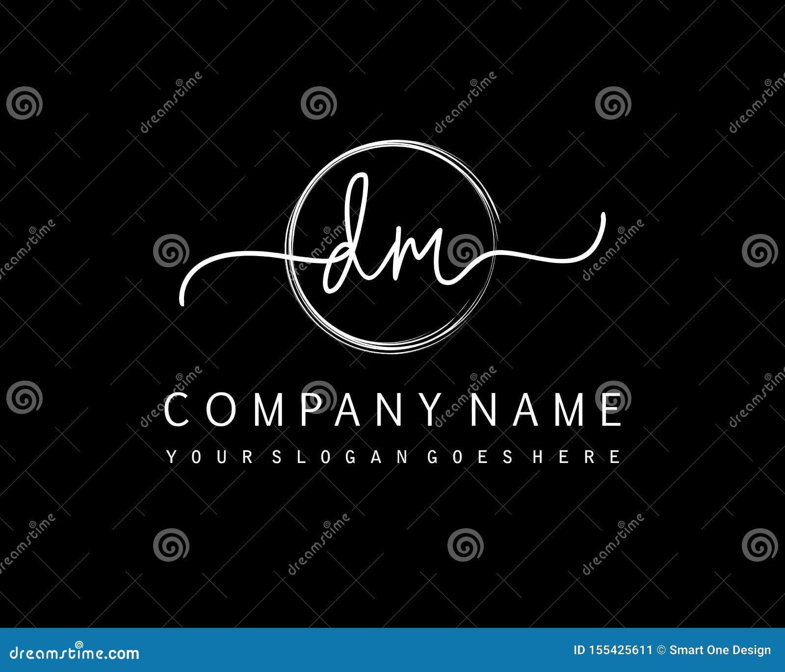 DM Initial Handwriting Logo Circle Template Vector Stock