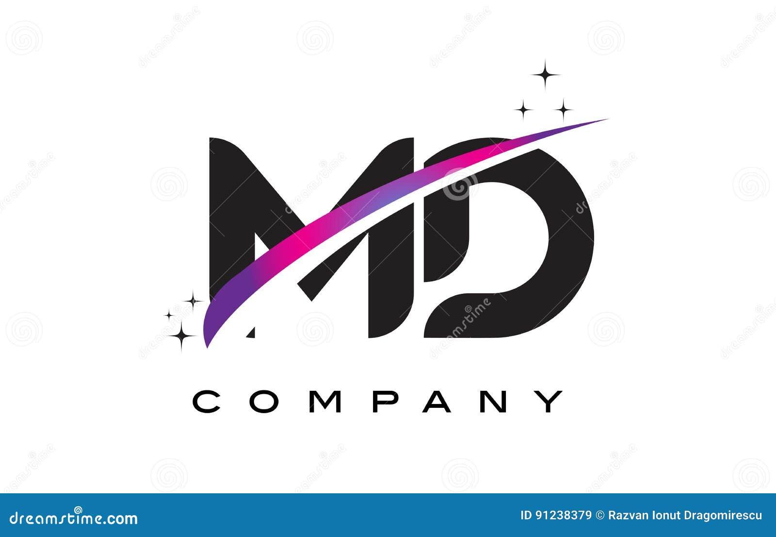 dm m d black letter logo design com swoosh magenta roxo ilustra o do vetor ilustra o de. Black Bedroom Furniture Sets. Home Design Ideas