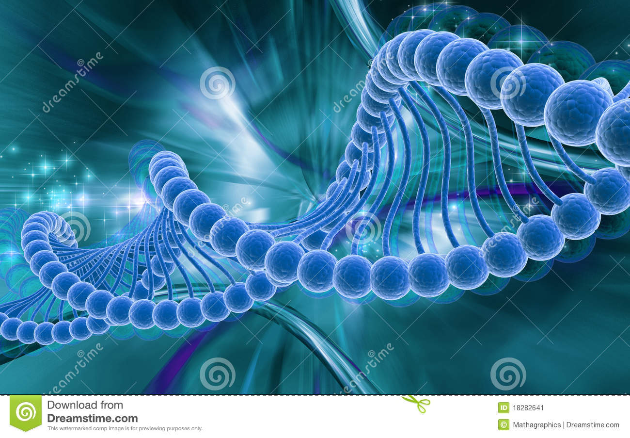 Digital illustration of dna structure in 3d on COLOR background.